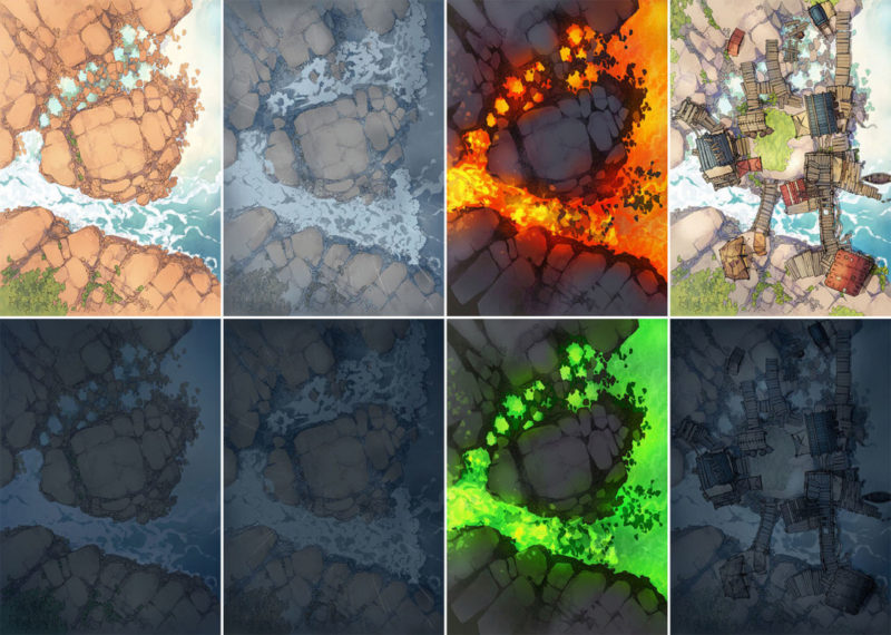 Rock Pools battle map - Variants all