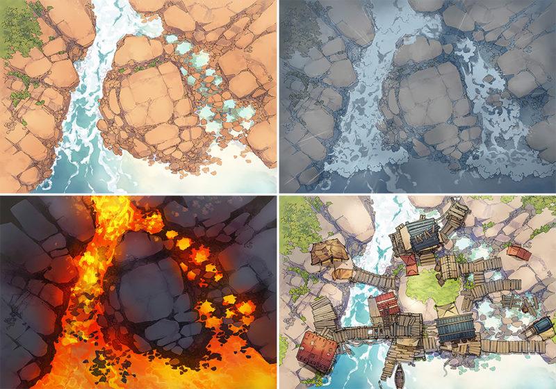 Rock Pools battle map - Variants preview