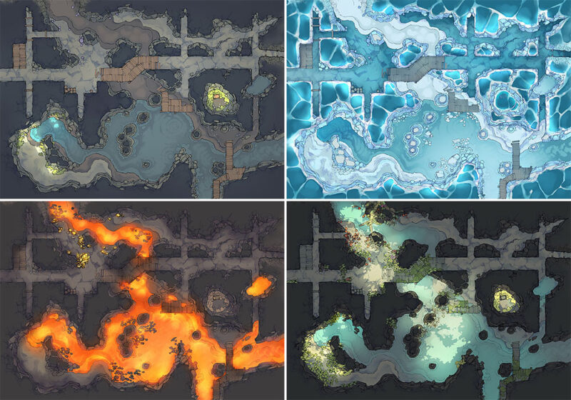 Abandoned Tunnels battle map - Variants preview