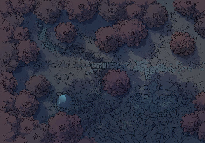 Big Forest - Autumn - Night - 44x32