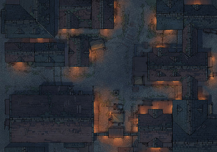 Town Center - Clear - Night - 44x32