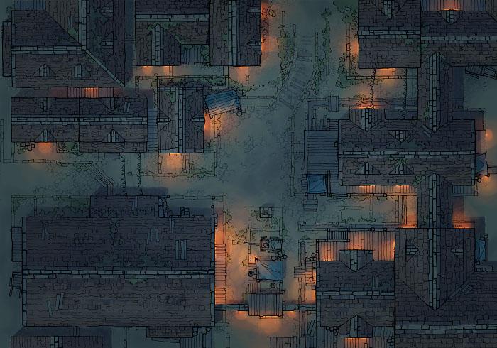 Town Center - Desert - Night - 44x32