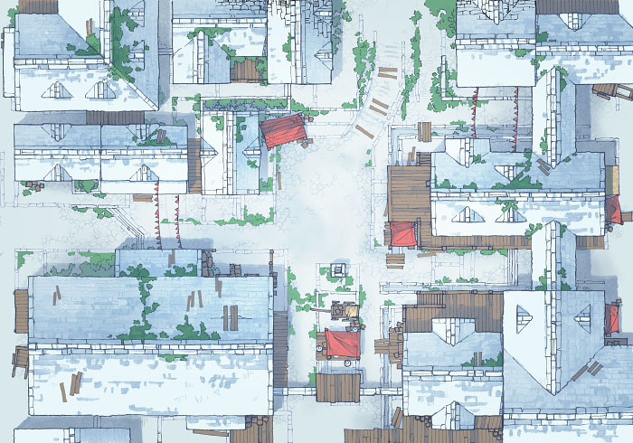 Town Center - Snow - Day - 44x32