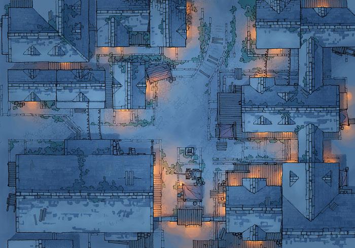 Town Center - Snow - Night - 44x32