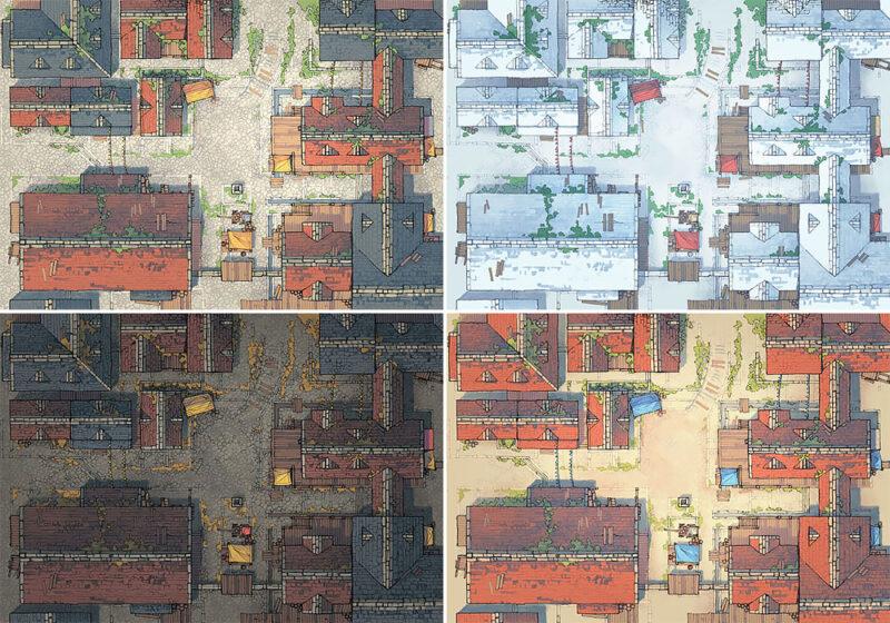 Town Center battle map - Variants preview