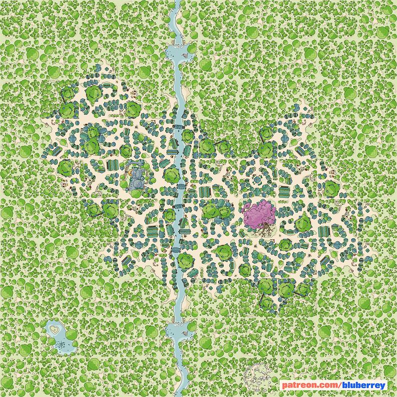 BluBerrey's City Maps - Elven City - Colored