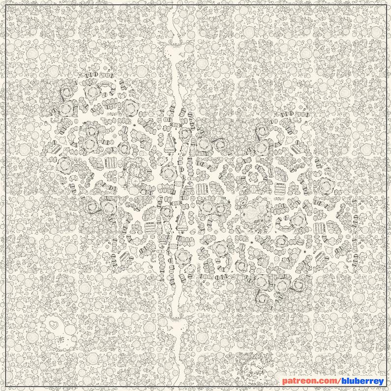 BluBerrey's City Maps - Elven City - Line Art