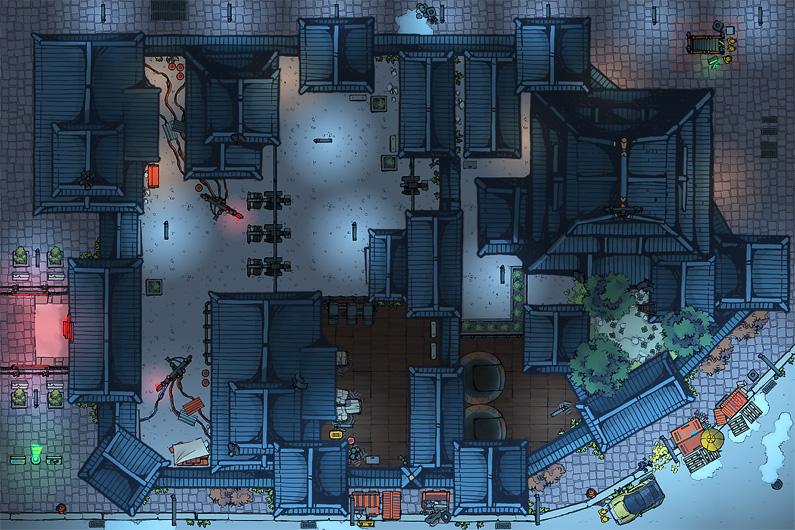 BluBerrey's Cyberpunk Battle Maps - Headquarters