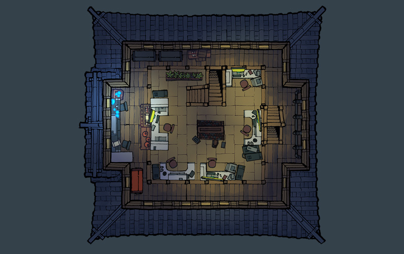 BluBerrey's Cyberpunk Castle battle map - Floor 3