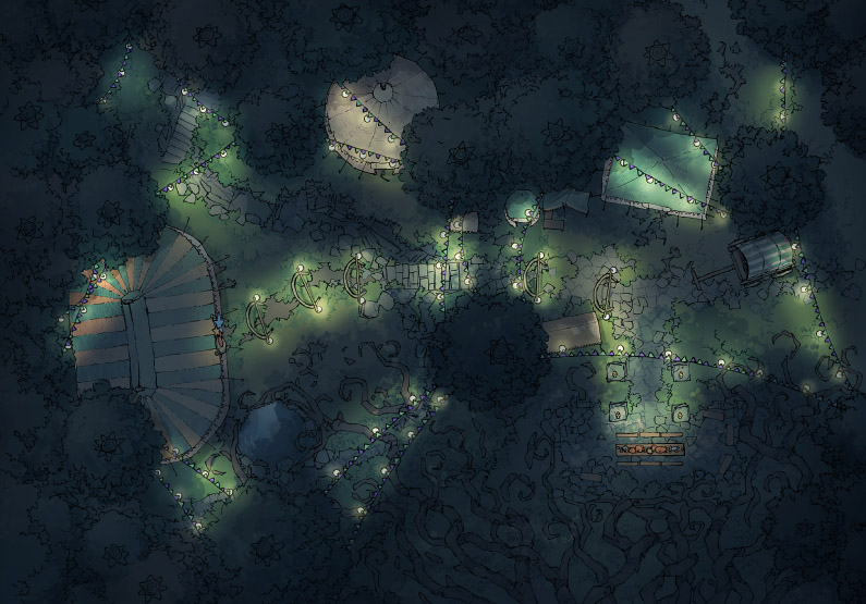 Circus Map Assets - Fairy Glade - Night - 44x32