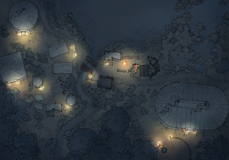 Circus Map Assets - Lakeside Camp - Night - 44x32