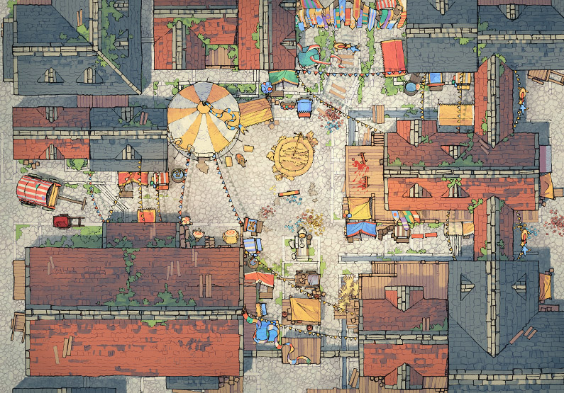 Circus Map Assets - Town Center - Day - 44x32