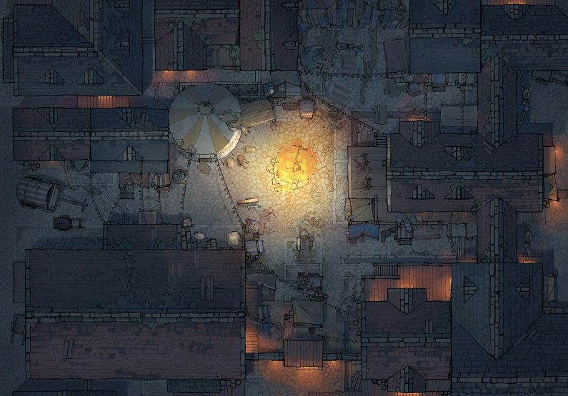 Circus Map Assets - Town Center - Night - 44x32
