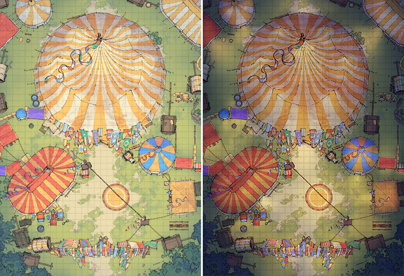 Circus Tent battle map - Day & night preview