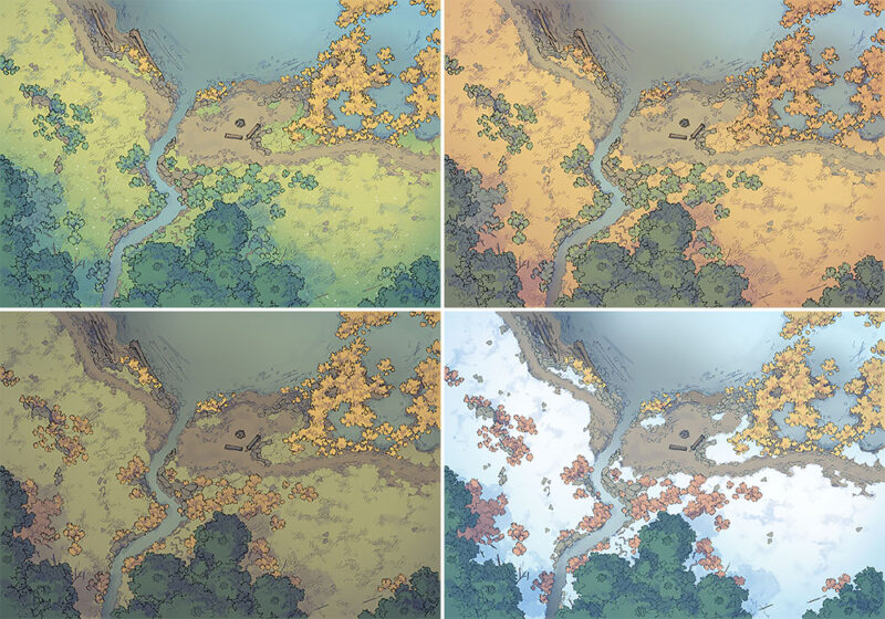 Lakeside Camp battle map - Variants preview
