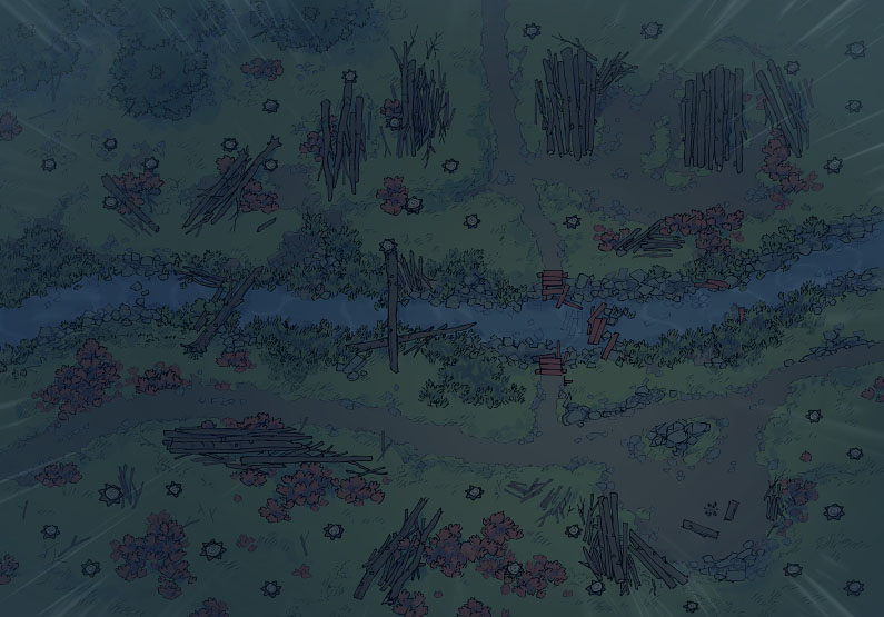 Timber Brook - Rainy - Night - 44x32