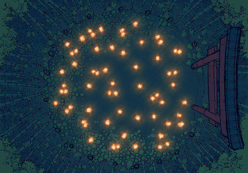 Bamboo Glade - Sacred Pool - Night - 16x22
