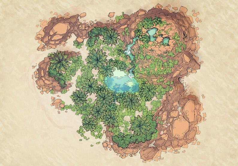 Desert Island - Oasis - Day - 44x32