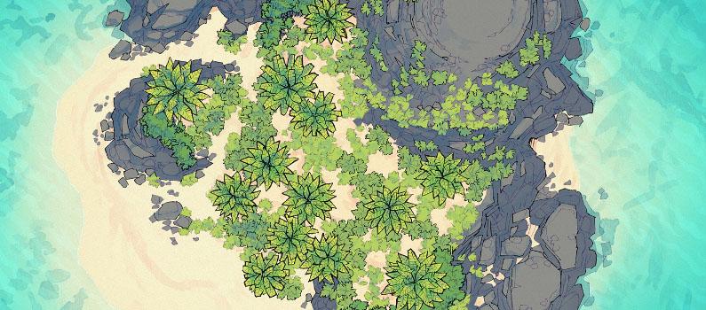 Desert Island battle map - Banner - Tropical - Small